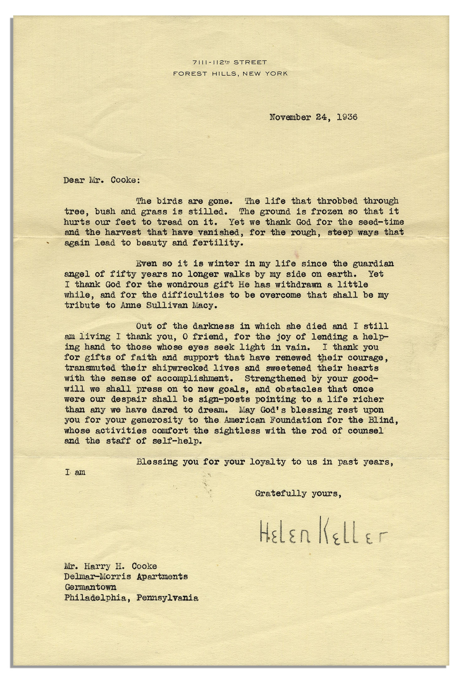 lot detail - helen keller letter signed