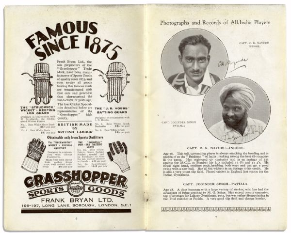 Vintage Cricket Program From The First India Cricket Tour of England in 1932, Signed by 16 Indian Athletes -- With an ALS by The Touring Manager