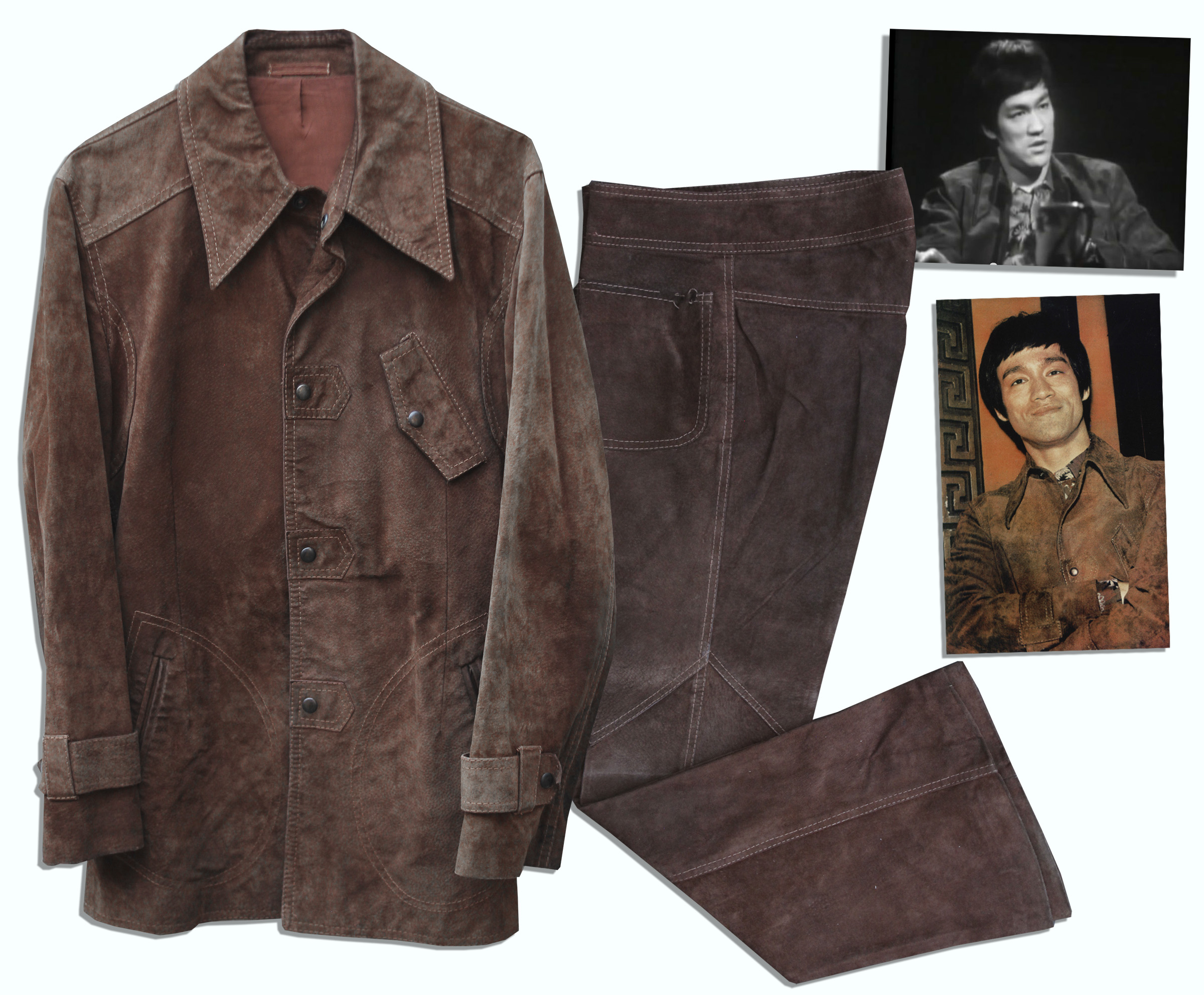 Lot Detail - Bruce Lee's Brown Suede Suit Worn Onscreen For The ...