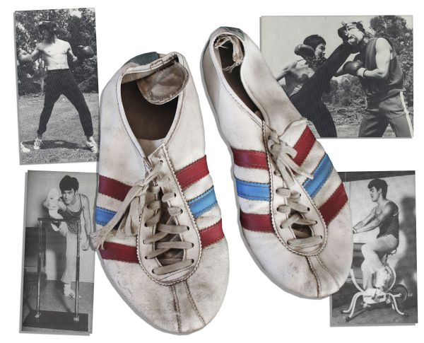 Bruce Lee Owned & Worn Adidas Shoes That He Used While Kicking During Training