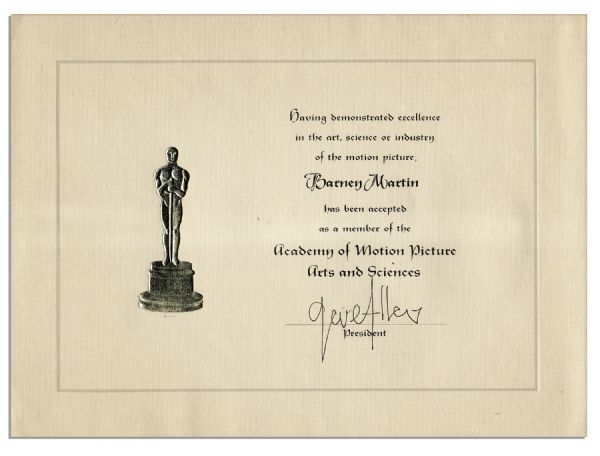 Academy of Motion Picture Arts & Sciences Acceptance Certificate & Academy of Television Arts & Sciences Business Card