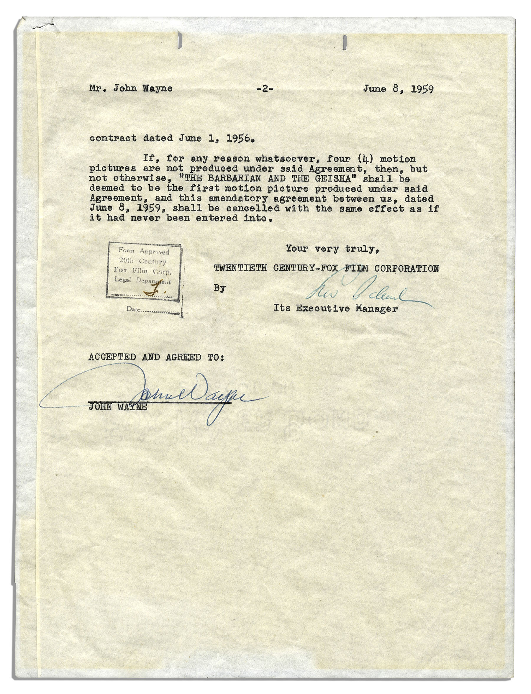 Lot Detail John Wayne Signed Contract For His Role In The