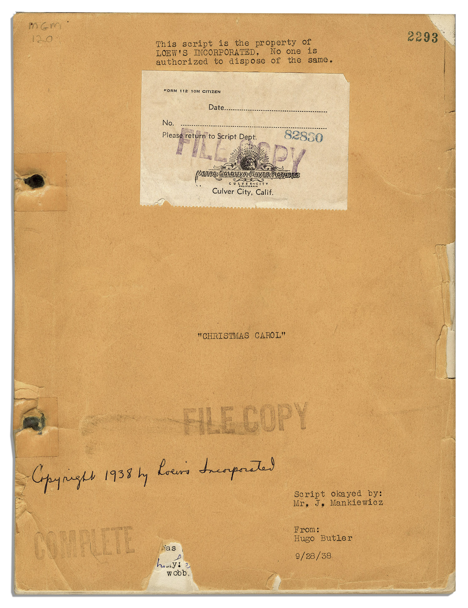 script for christmas carol the 1938 mgm version by hugo - Christmas Carol Script