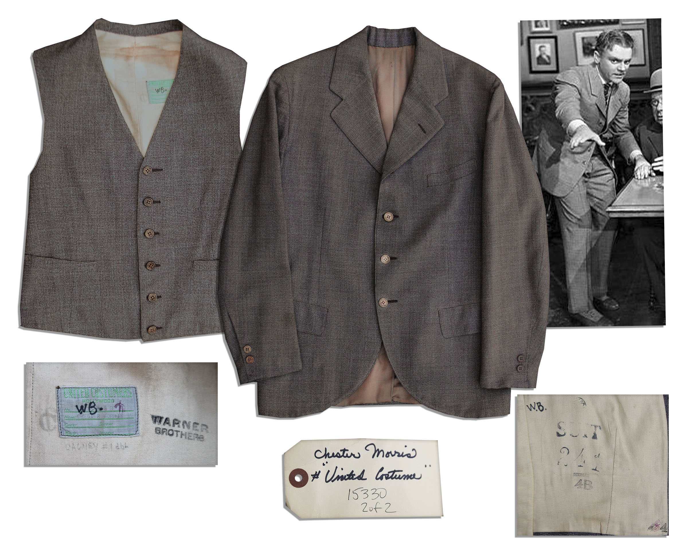 James Cagney memorabilia James Cagney Screen Worn Wardrobe From ''Yankee Doodle Dandy'' -- The Musical Film That Won Him His Best Actor Academy Award