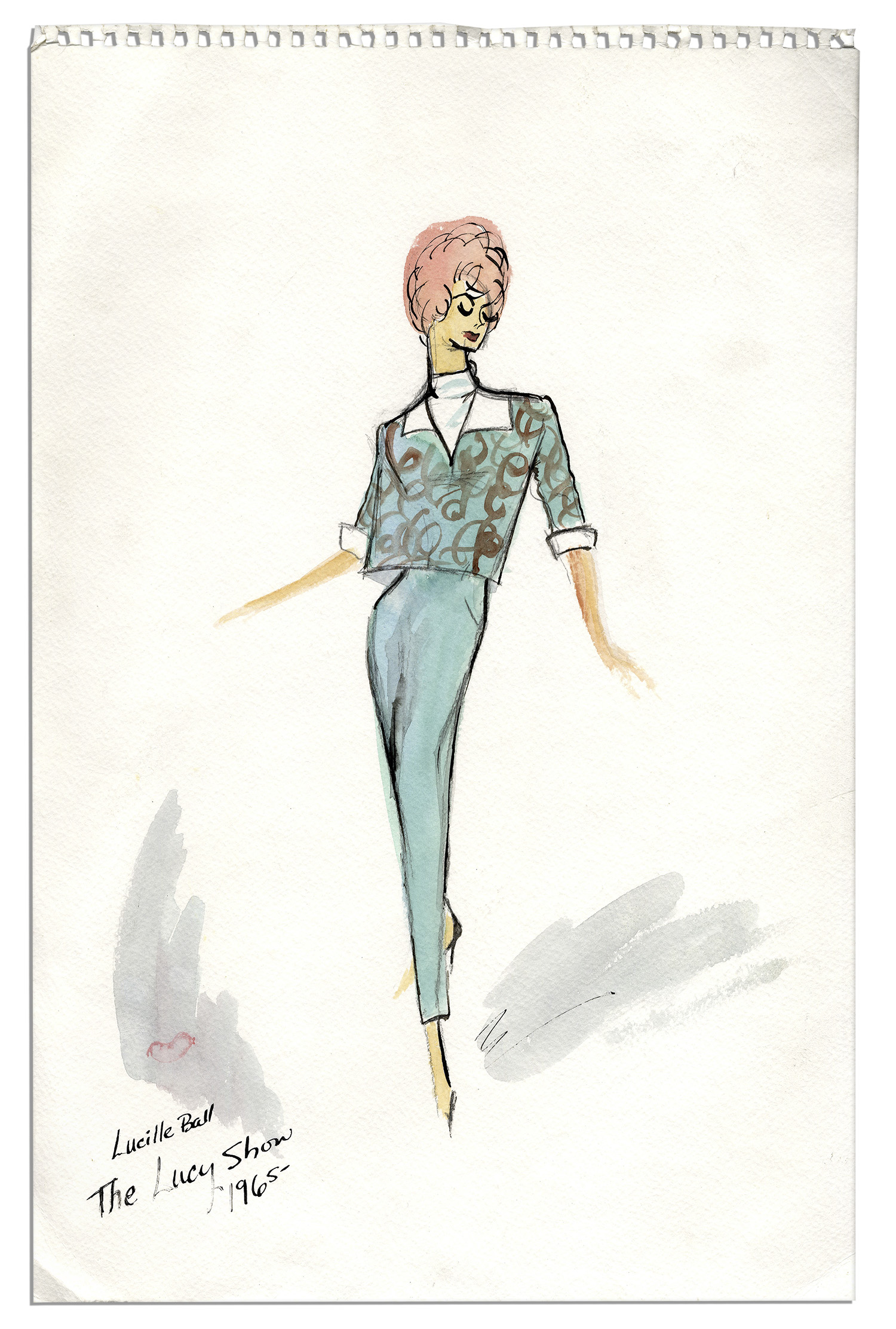 lot detail edith head costume sketch for lucille ball in