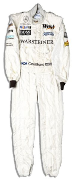 David Coulthard Signed and Worn West McLaren-Mercedes 1998 Formula 1 Race Suit