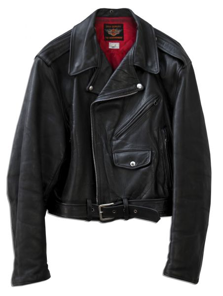 Elvis Presley Worn Black Leather Harley Davidson Motorcycle Jacket From His 1964 Musical Film ''Roustabout''