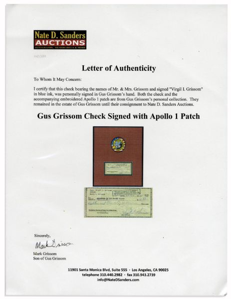 Gus Grissom Check Signed & Apollo 1 Embroidered Patch -- Directly From His Estate