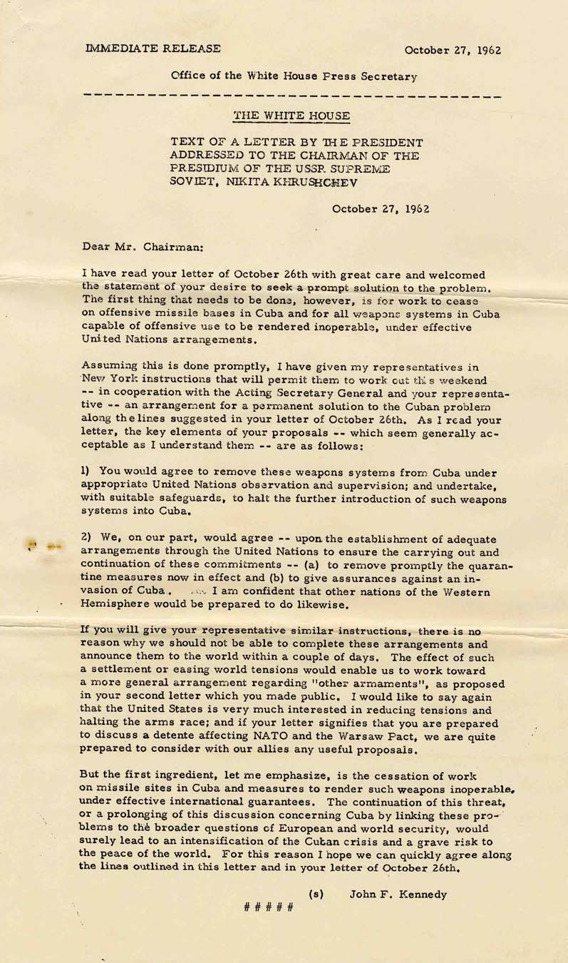 Lot detail original white house press release of a letter to original white house press release of a letter to khrushchev regarding the cuban missile crisis thecheapjerseys Gallery