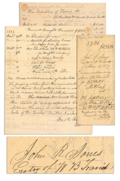 William Barret Travis autograph Outstanding Texas Artifact -- the Original Receipt for Alamo Expenses Incurred by William Barret Travis to Equip the Alamo Soldiers -- Includes Purchase of ''Flag 5.00''