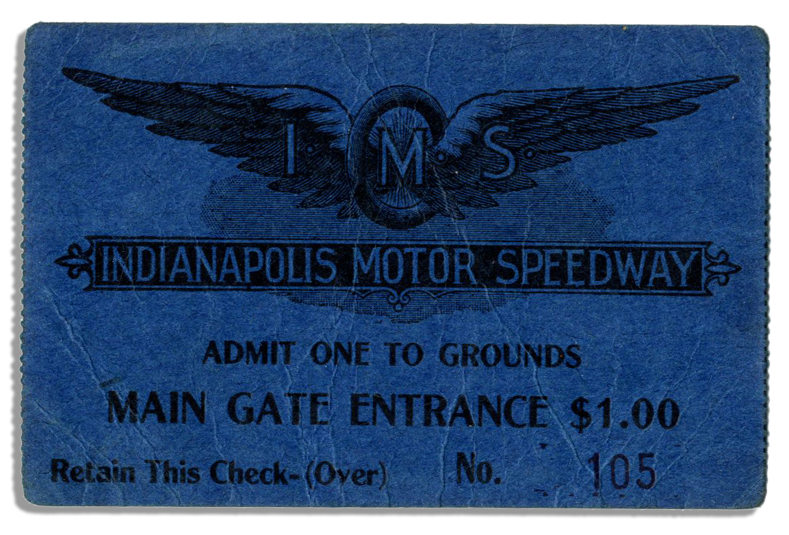 Lot detail very early indianapolis motor speedway ticket for Indianapolis motor speedway ticket office