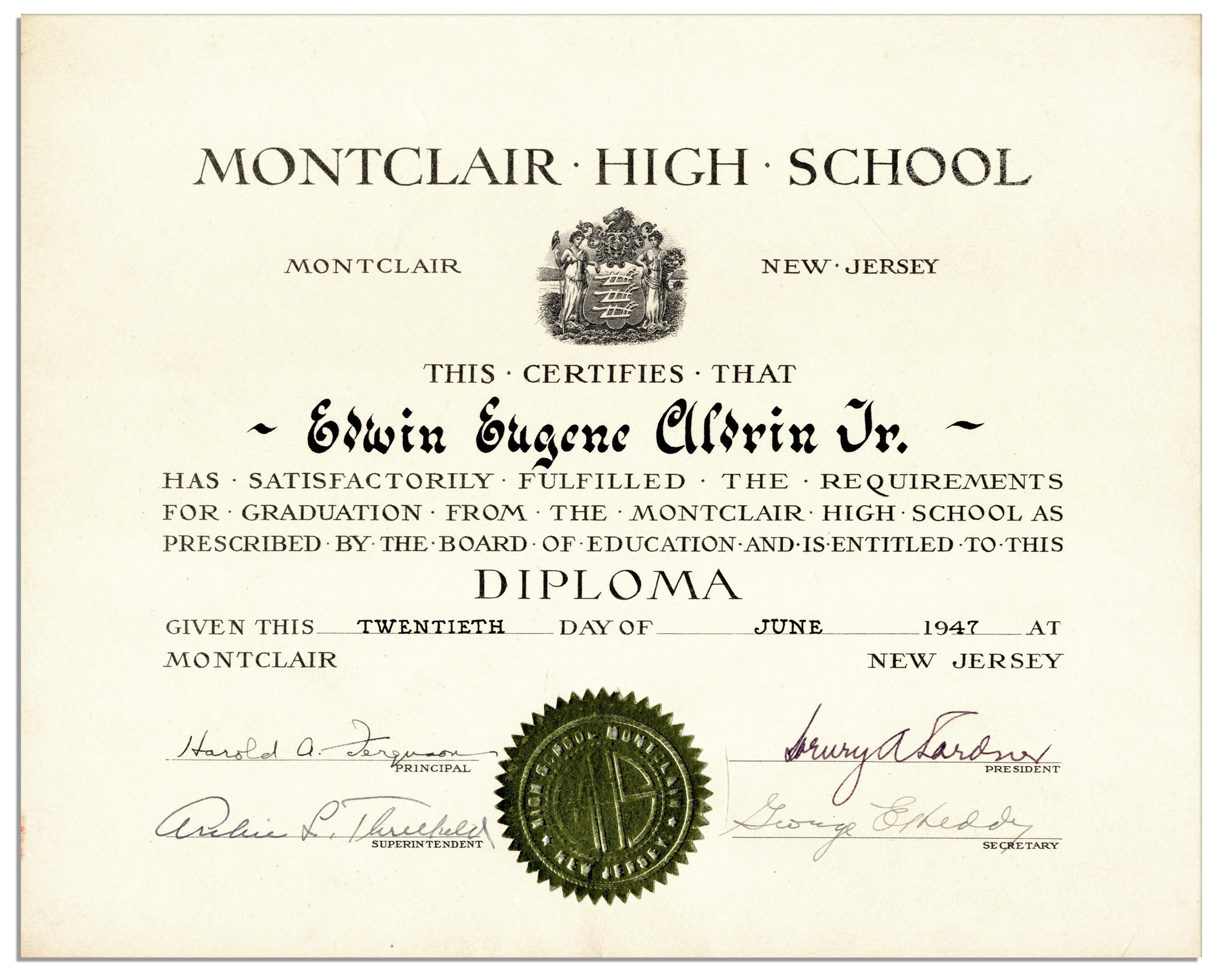 lot detail buzz aldrin high school diploma