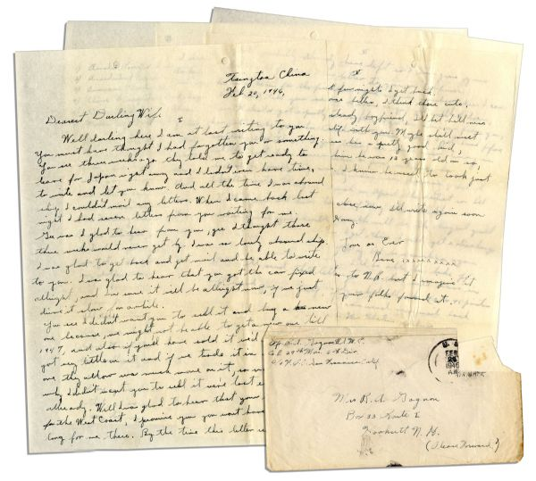 Iwo Jima Memorabilia WWII Hero Rene Gagnon V-Mail Sent the Day After ''Raising the Flag on Iwo Jima'' -- With an Autograph Letter Signed 1 Year Later -- ''...I can take off this uniform for good...''