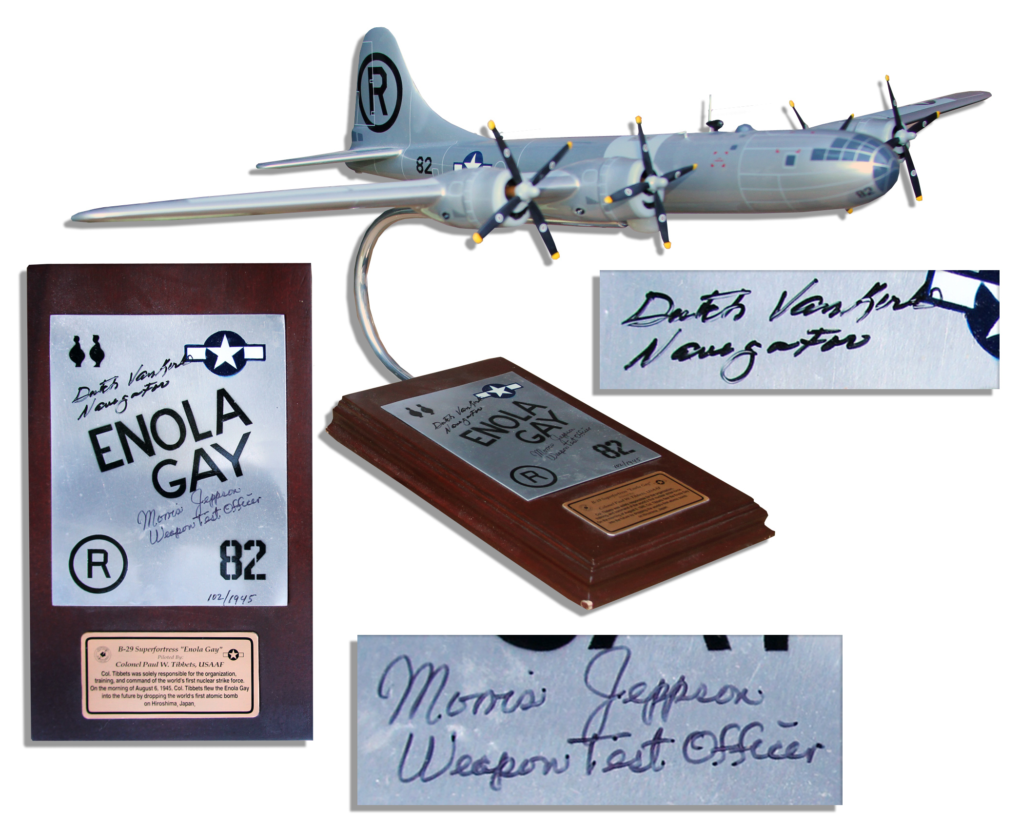 Enola Gay Model Airplane Signed by Hiroshima Flight Crew Members --  Navigator ''Dutch ...
