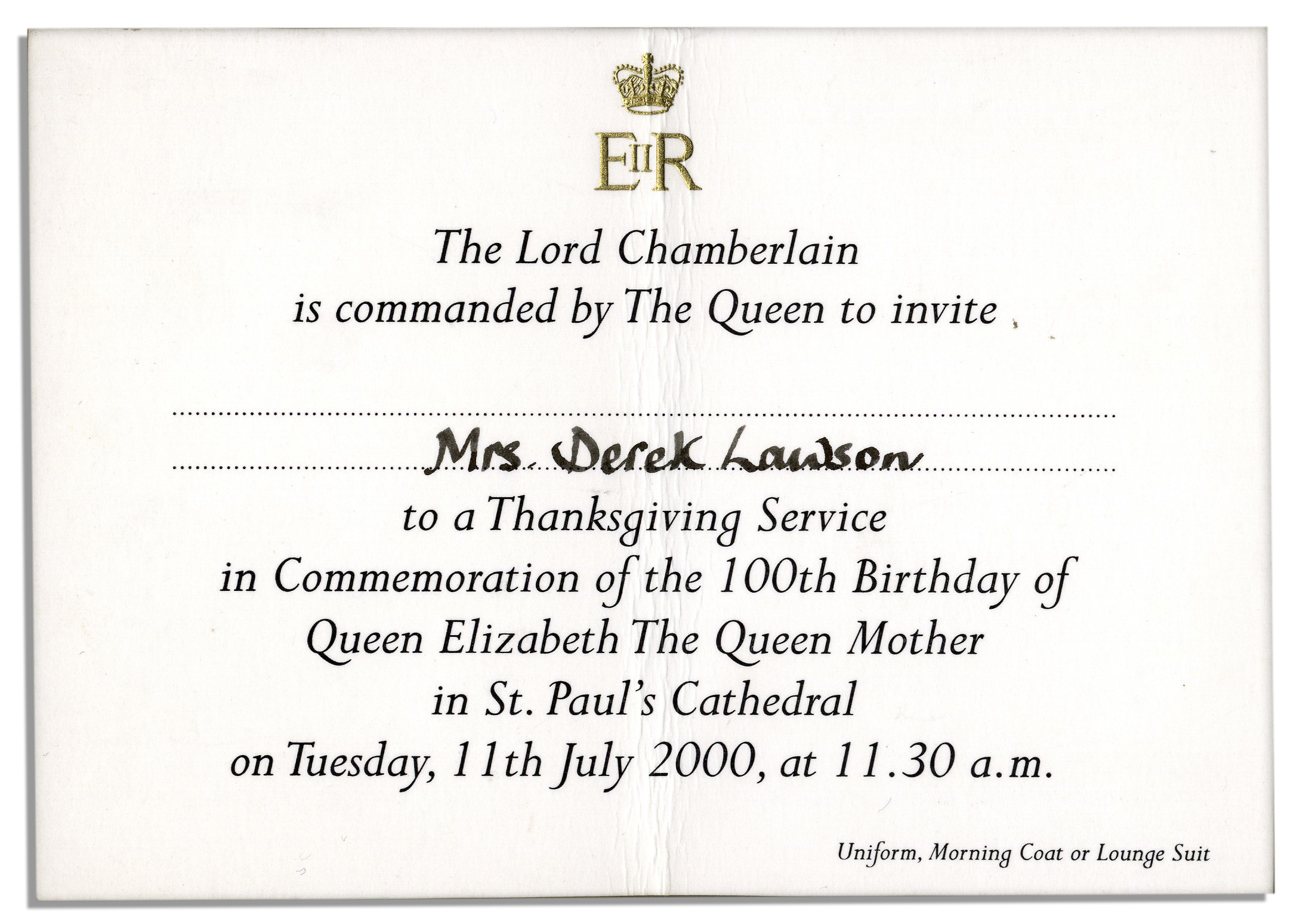 queen elizabeth the queen mothers 100th birthday thanksgiving service invitation