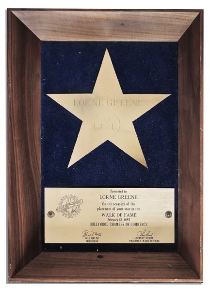 Lorne Greene Award for His Star on the Hollywood Walk -- For His Starring Roles on Bonanza and Battlestar Galactica -- With an LOA From His Estate