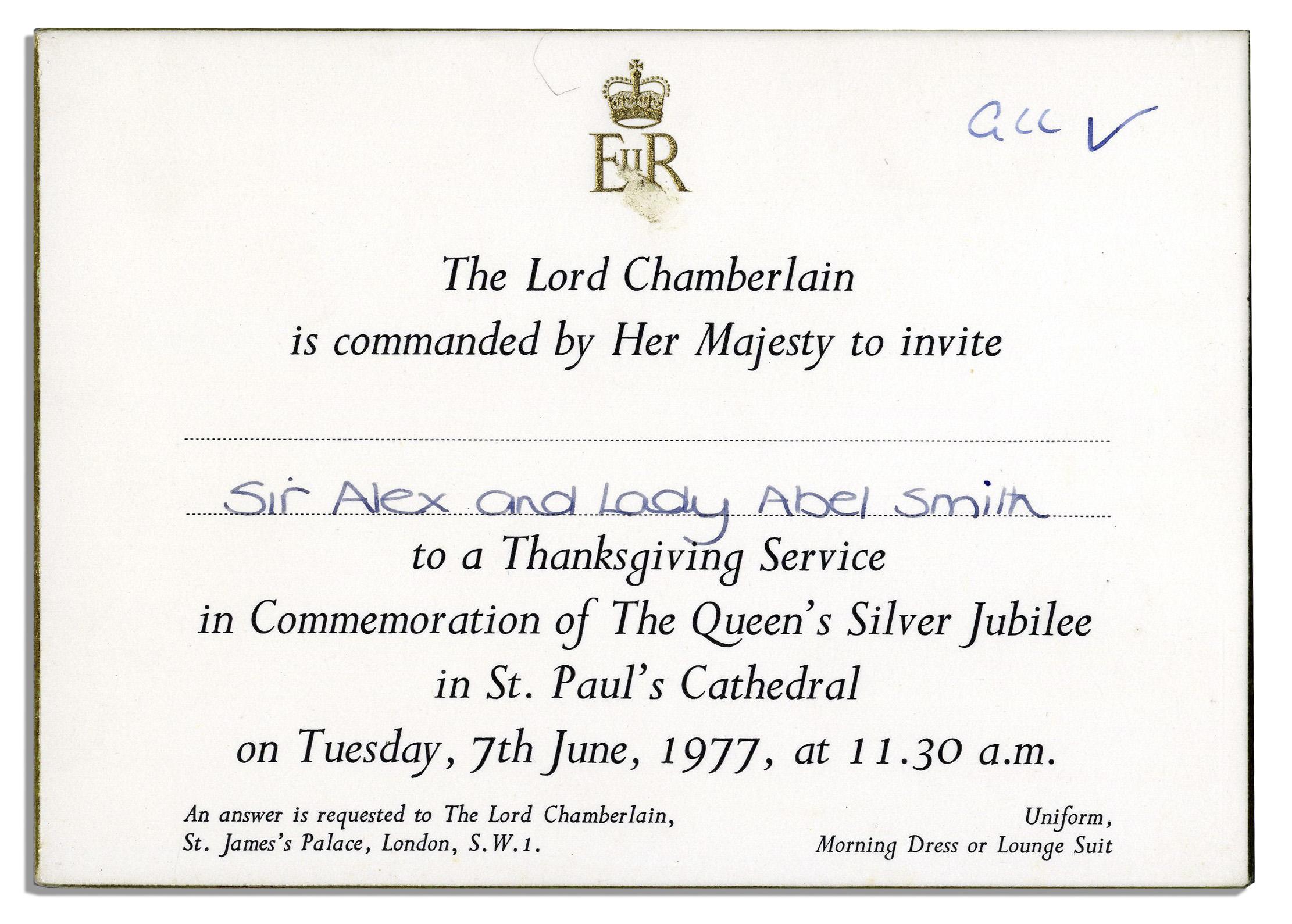 lot detail  queen elizabeth ii silver jubilee invitation