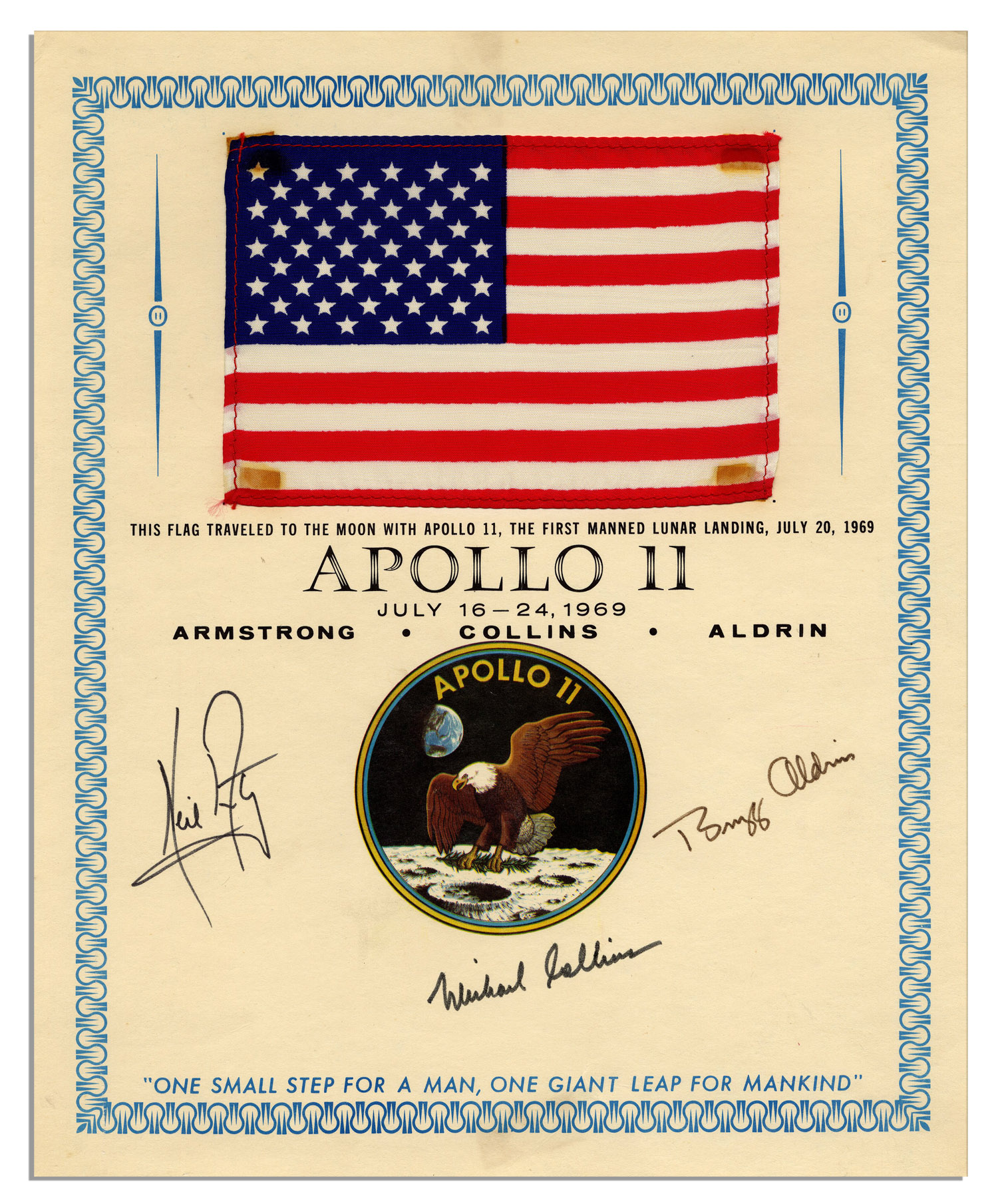 Apollo 11 Flag Flown to the Moon Exceptionally Scarce Apollo 11 Flag Flown to the Moon -- Signed by Armstrong, Aldrin & Collins