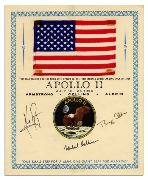 Apollo Flown Flight Plan Exceptionally Scarce Apollo 11 Flag Flown to the Moon -- Signed by Armstrong, Aldrin & Collins