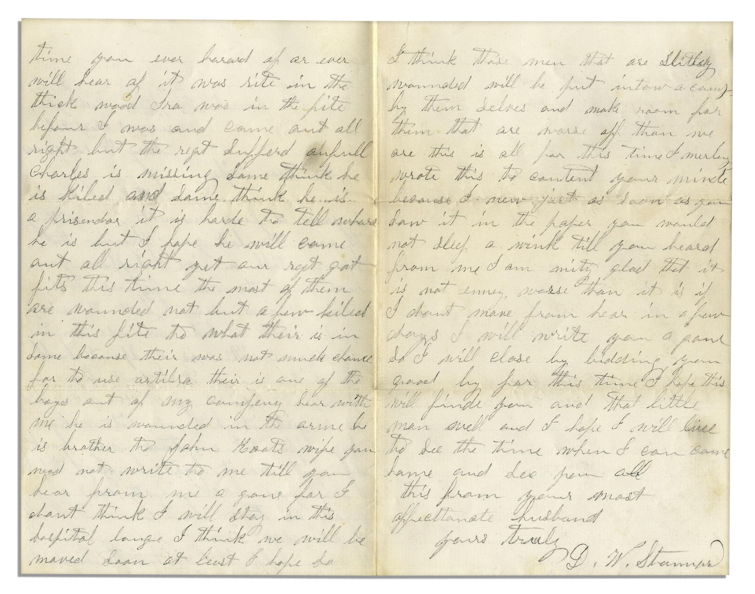 Lot Detail Civil War Letter Following The Battle Of The Wilderness