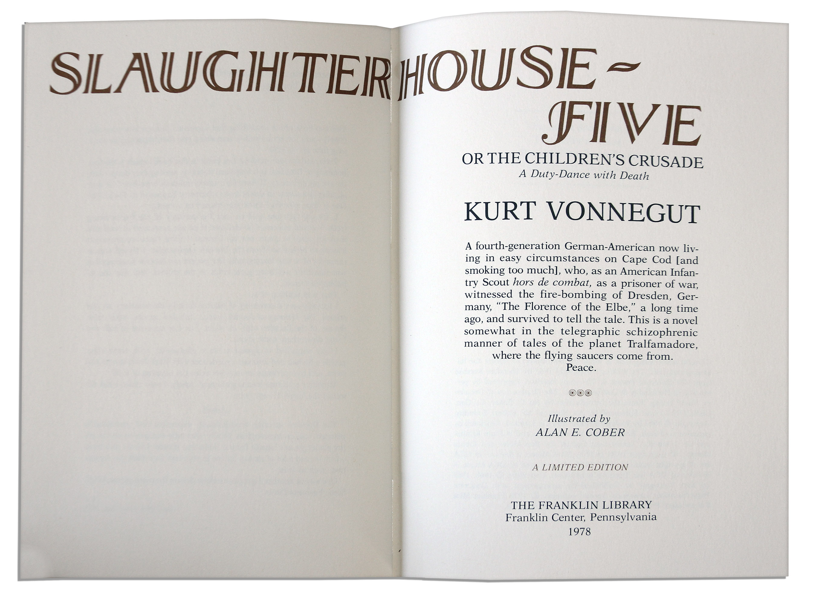 an analysis of the death of valencia pilgrim in the novel slaughterhouse five by kurt vonnegut A discussion of the slaughterhouse-five themes running throughout slaughterhouse-five kurt vonnegut death 16: billy's wife valencia dies of carbon monoxide.