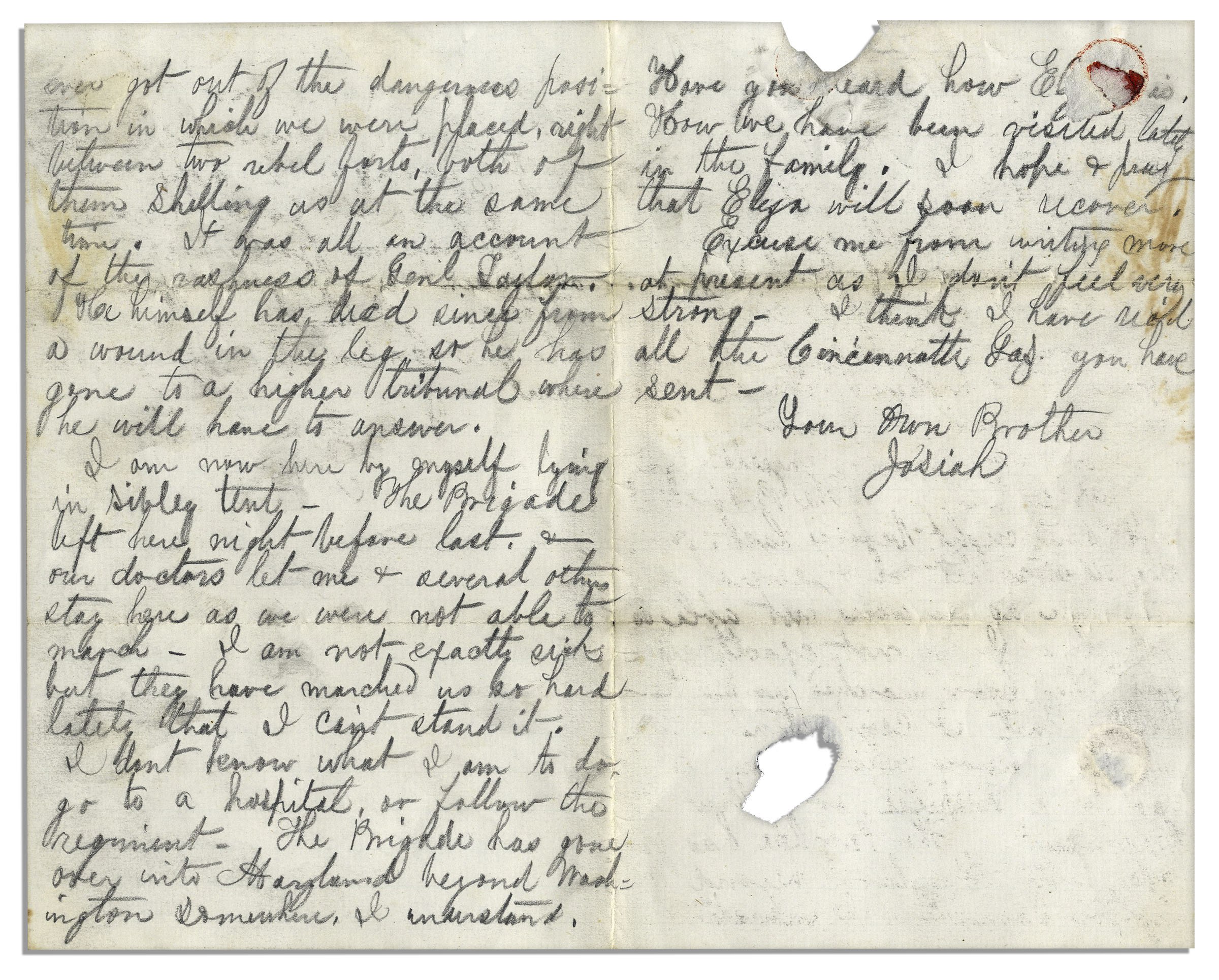 Lot Detail Civil War Letter From a Sol r in The Second Battle