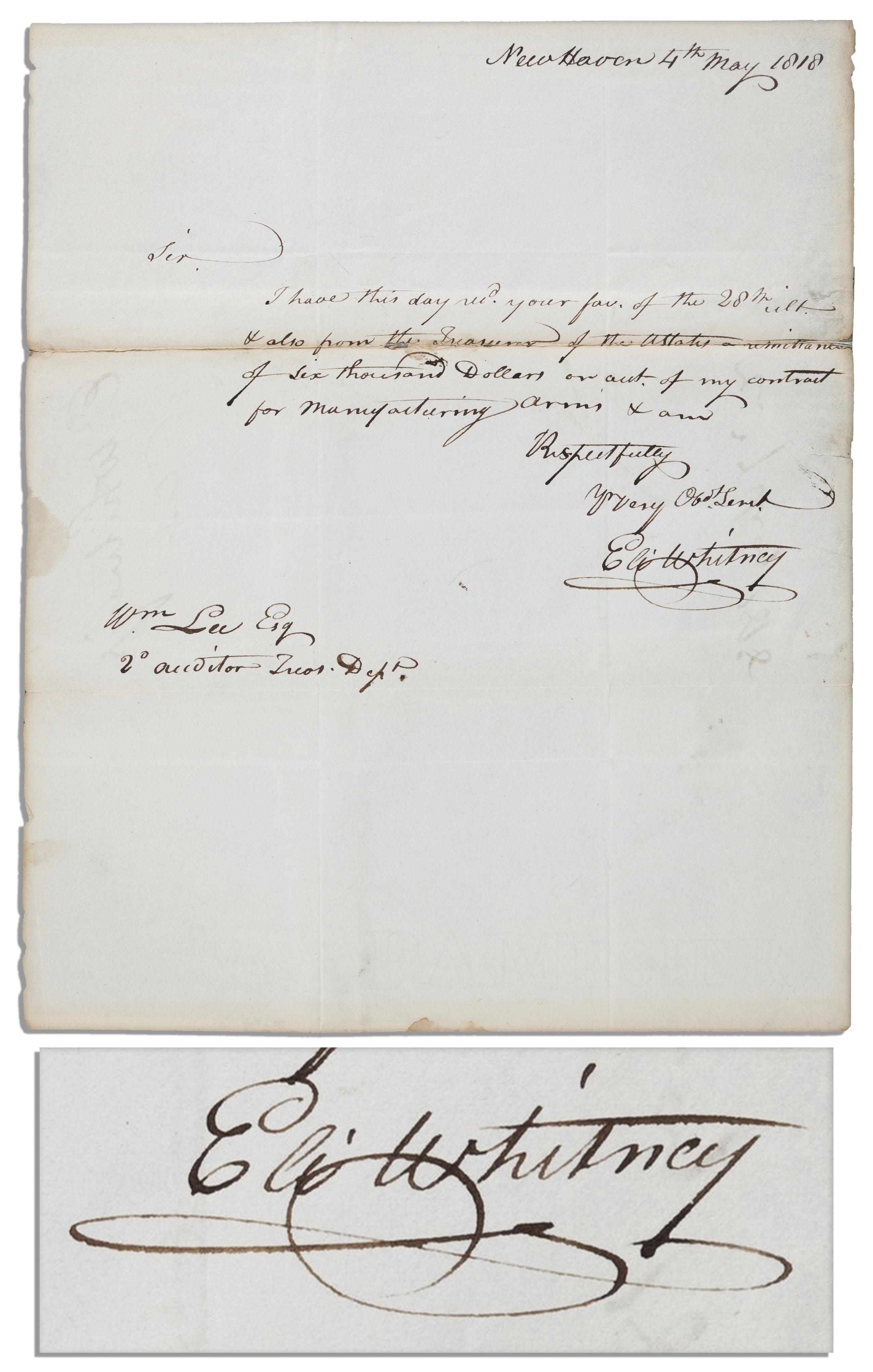 Eli Whitney Autograph