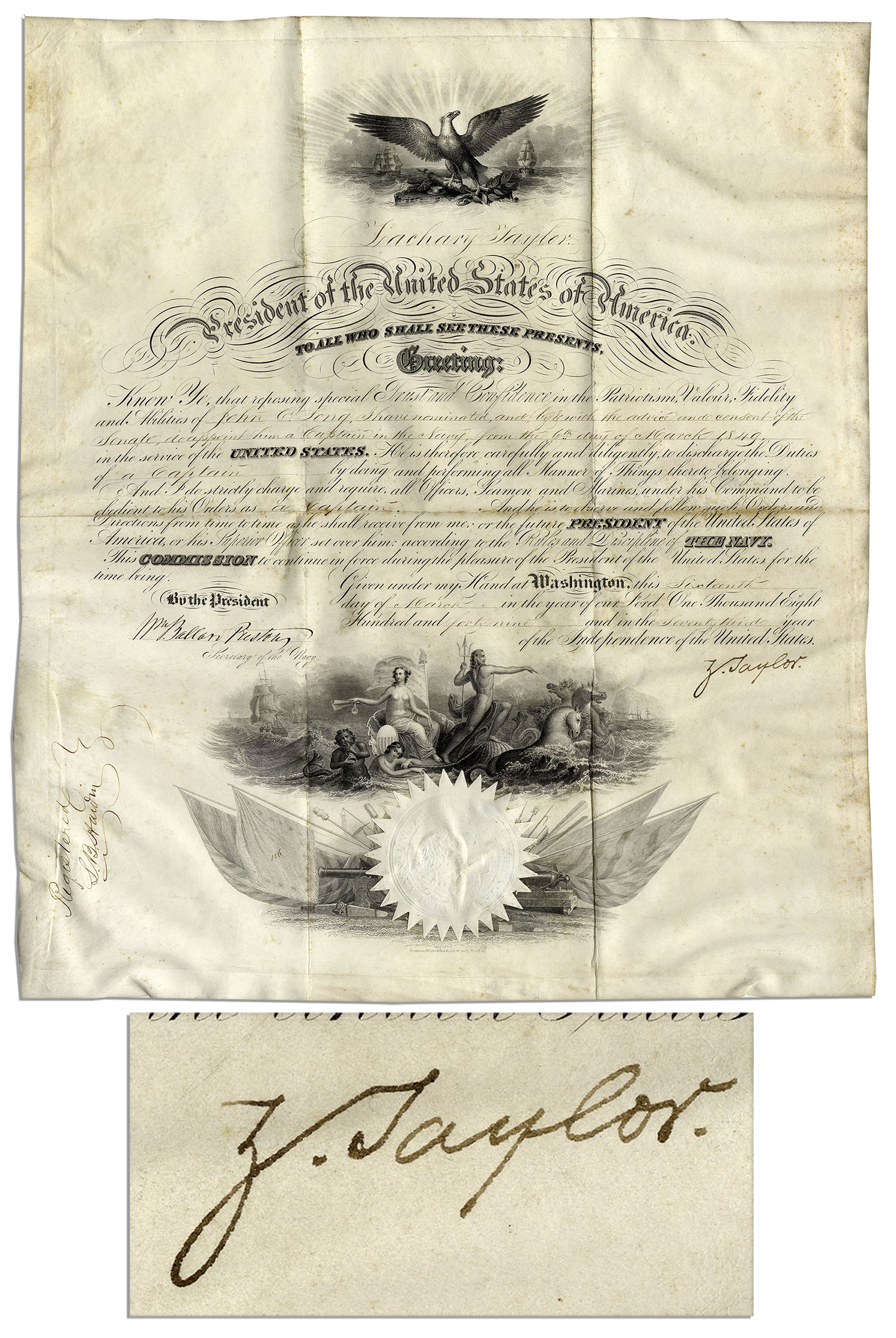 Zachary Taylor Autograph Zachary Taylor Naval Appointment Signed as President -- Just a Week After Taking Office
