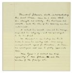 Spiro Agnew Autograph Manuscript Regarding the Sudden Death of President Lyndon B. Johnson -- ...Comes as a severe shock. His strength and vitality, his liveliness and warmth...