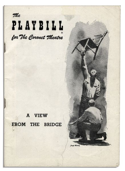 Original Charcoal Drawing & Playbill for the Broadway Premiere of A View From The Bridge Starring Van Heflin -- From Heflin's Collection