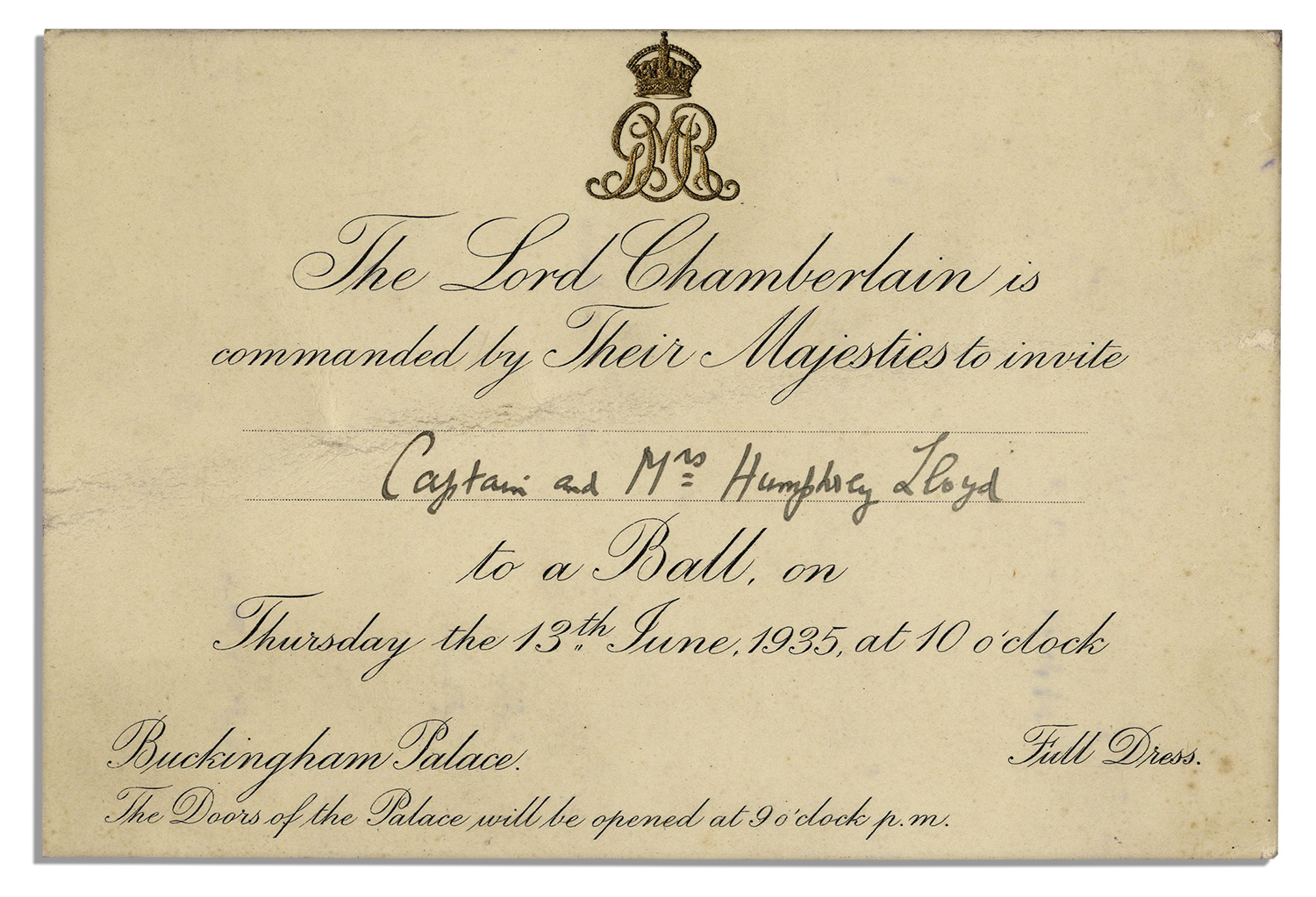 Lot Detail - Invitation to a Royal Ball at King George V's Buckingham Palace