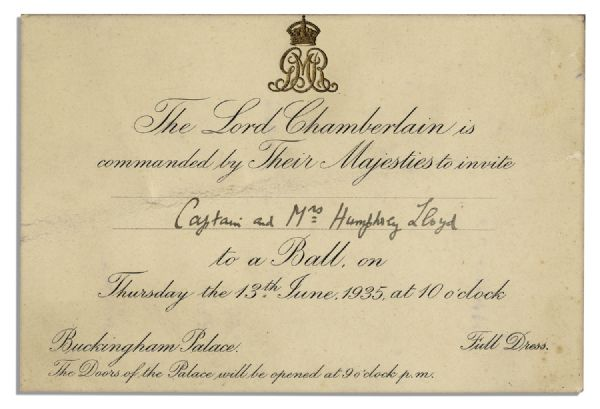 lot detail invitation to a royal ball at king george v 39 s buckingham palace. Black Bedroom Furniture Sets. Home Design Ideas