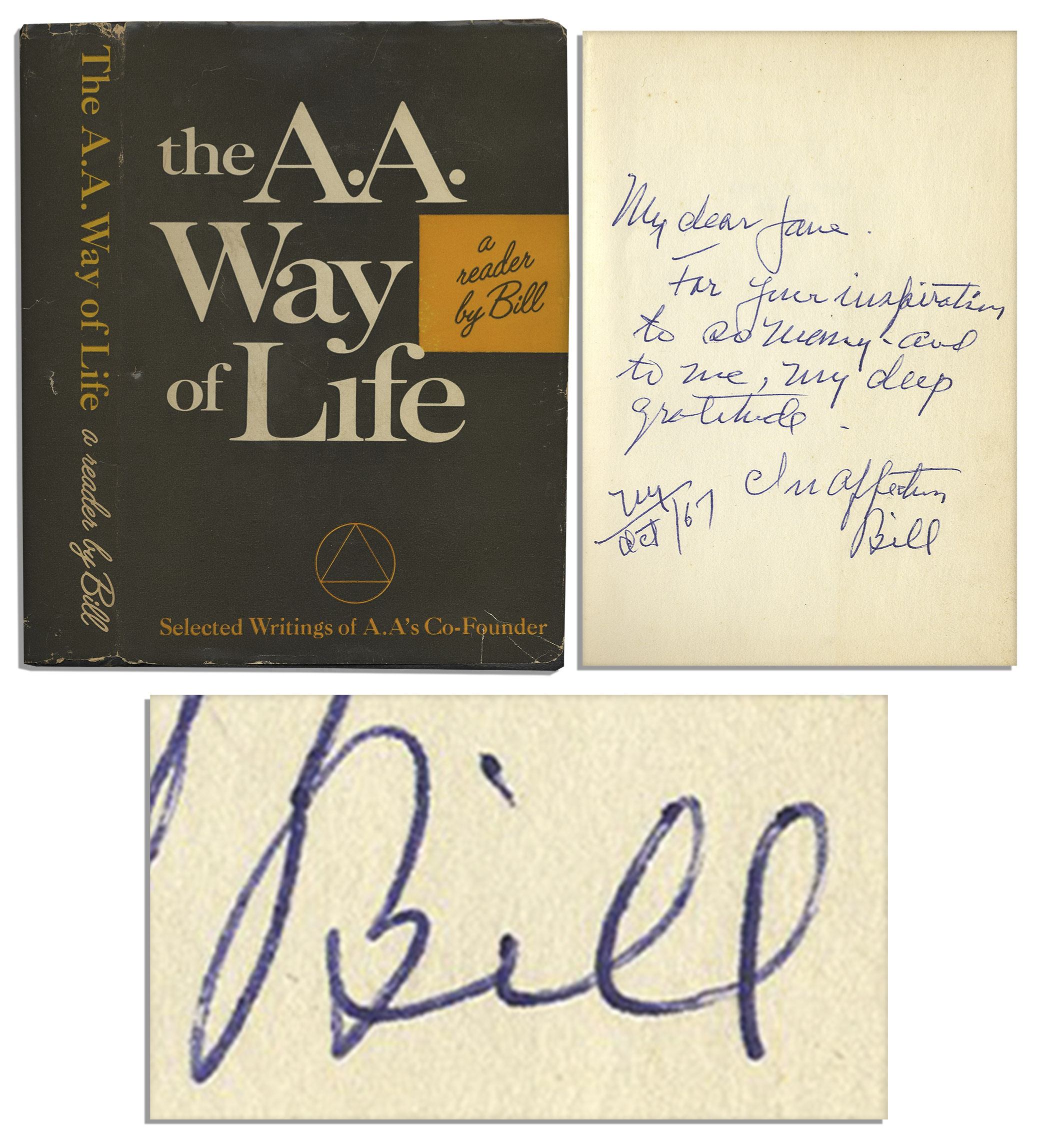 Alcoholics Anonymous First Edition Alcoholics Anonymous Co-Founder Bill Wilson Signed First Printing of ''The A.A. Way of Life''