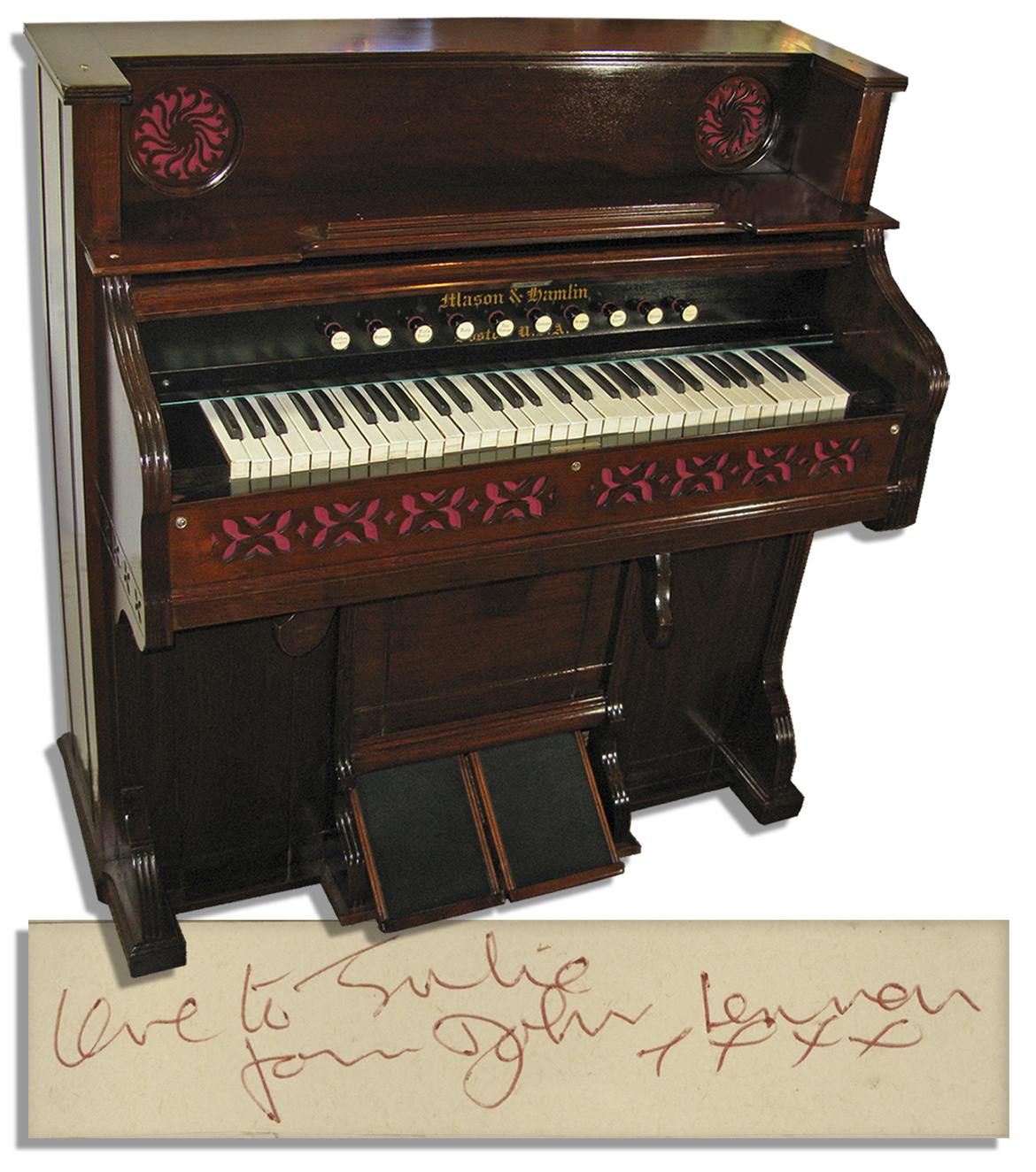 John Lennon guitar John Lennon Memorabilia Exceptionally Rare John Lennon Personally Owned & Played Musical Instrument -- Reed Organ Made of Walnut in Dark Finish -- With Provenance From Sotheby's