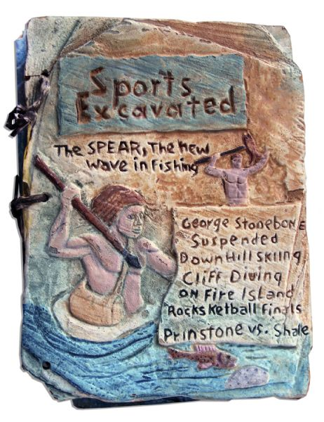 Custom-Made Prop From The Flintstones Movie -- Pair of Faux Stone Tablets Titled, Sports Excavated -- 11 x 15
