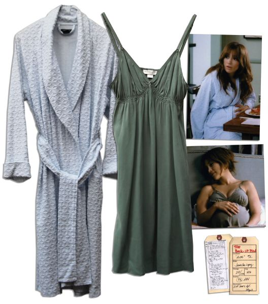 Jennifer Lopez Hero Silk Nightgown & Terry Robe From ''The Back-Up Plan''