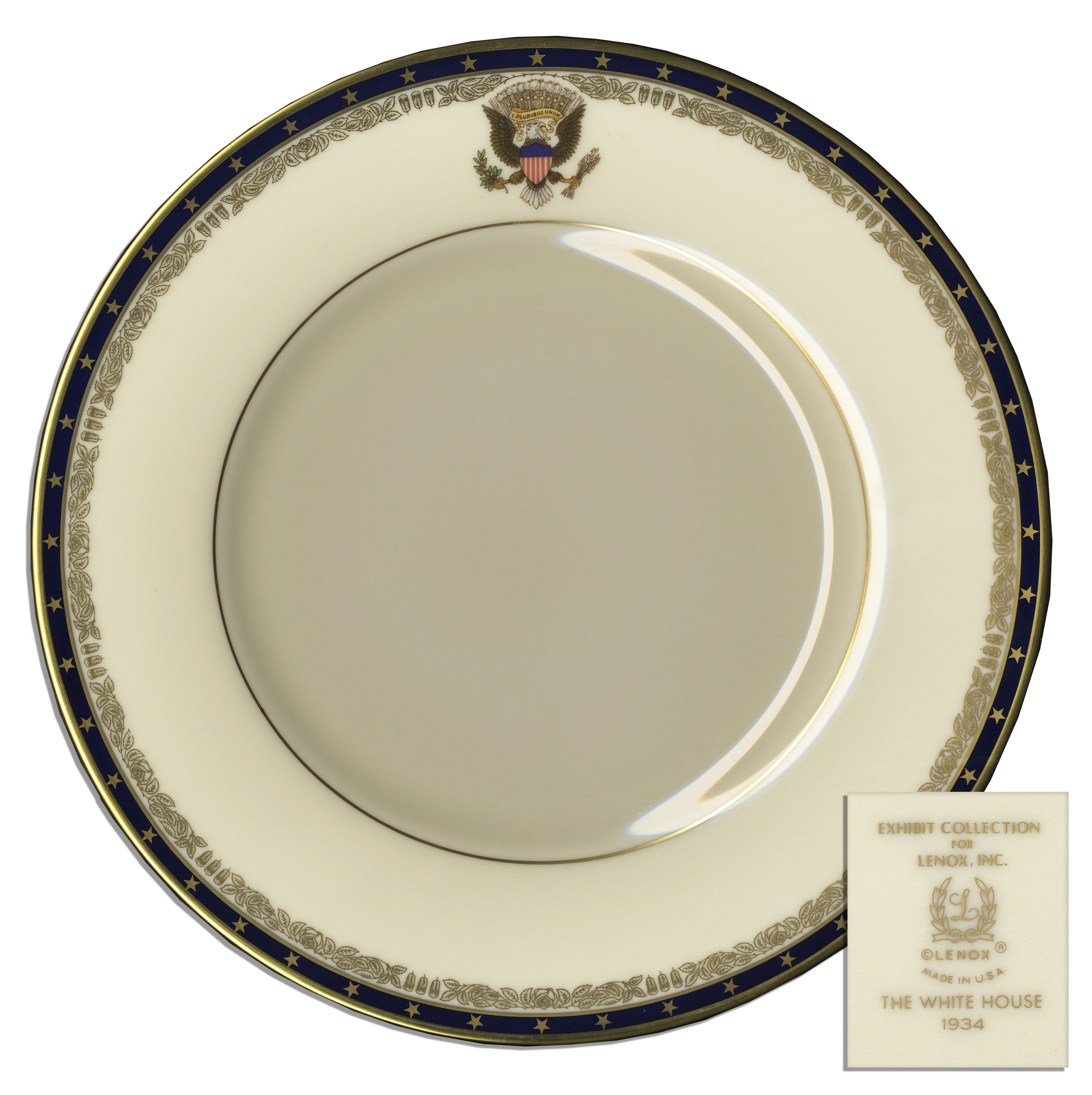 Franklin D. Roosevelt Memorabilia President Franklin D. Roosevelt Official White House China Dinner Plate -- Fine