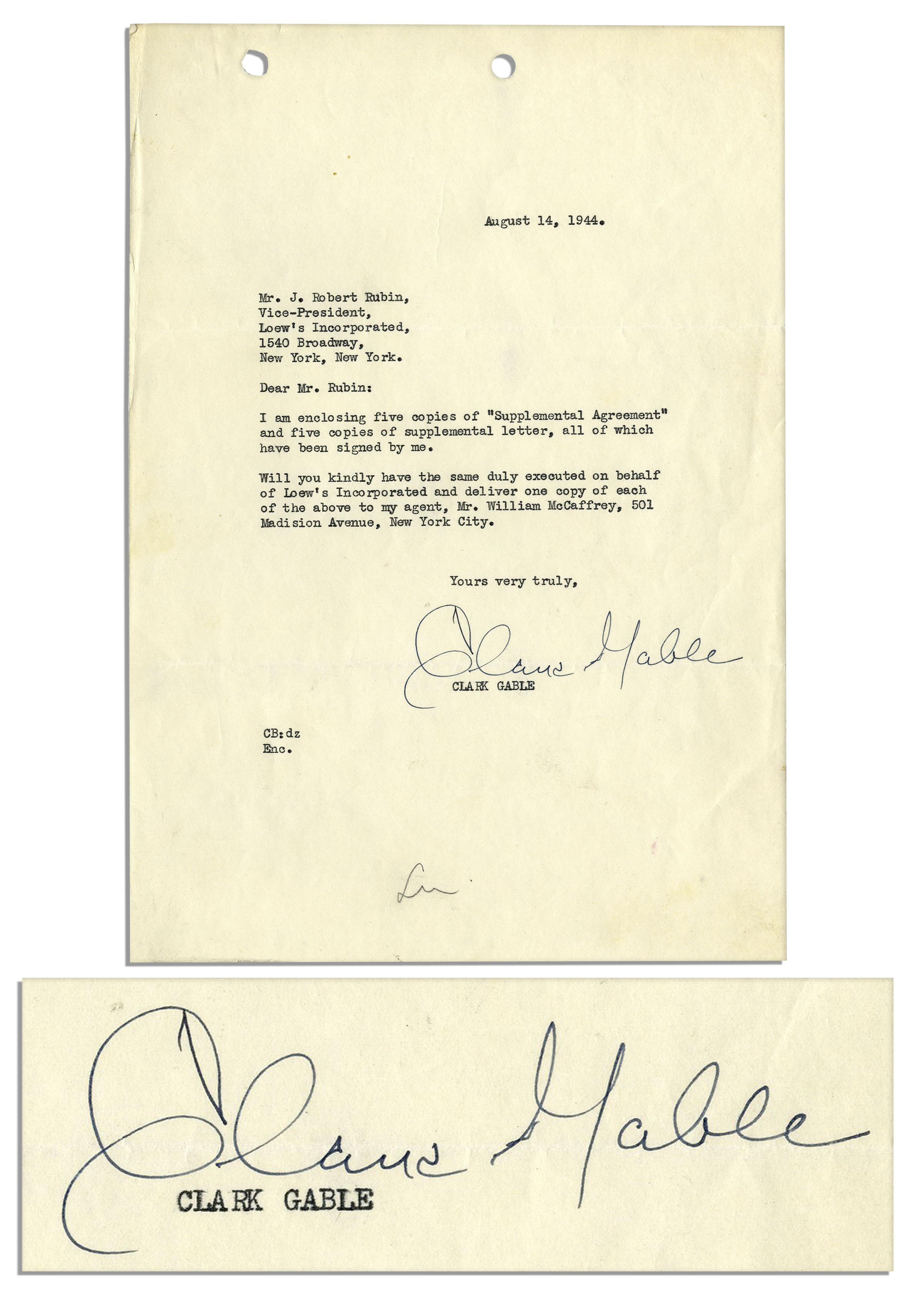 Lot Detail Lot Of Hollywood Greats Clark Gable Typed Letter