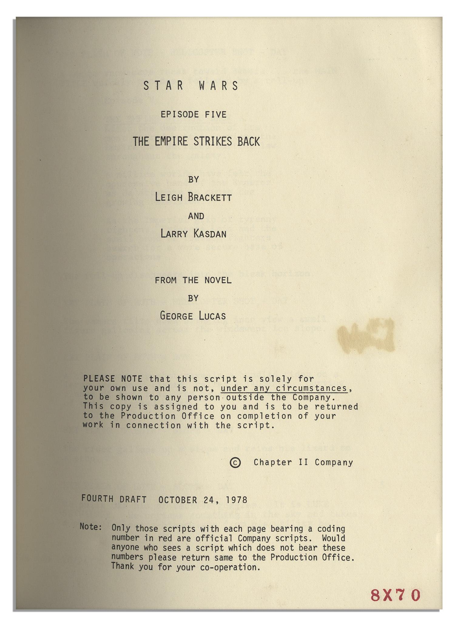 Lot Detail Shooting Script For Quot Star Wars Episode V The