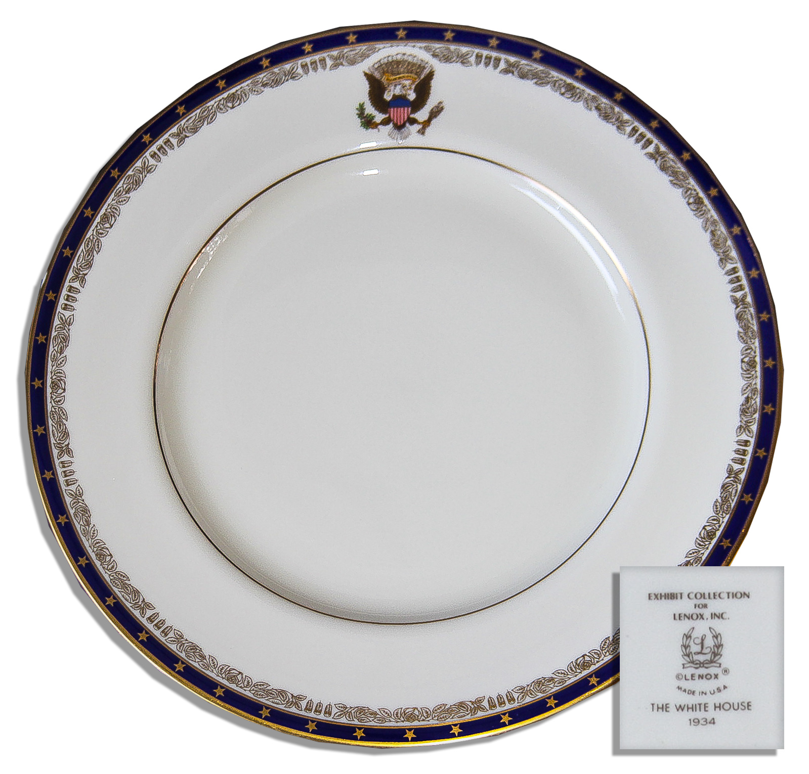 Franklin D. Roosevelt White House Exhibit China -- Dinner Plate by Lenox ...  sc 1 st  Nate D Sanders & Lot Detail - Franklin D. Roosevelt White House Exhibit China ...