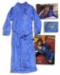 Blue Satin Robe Worn Onscreen by Mike Myers as Austin Powers in the Last Scene of the First Film International Man of Mystery and in the First Scene of Sequel, The Spy Who Shagged Me