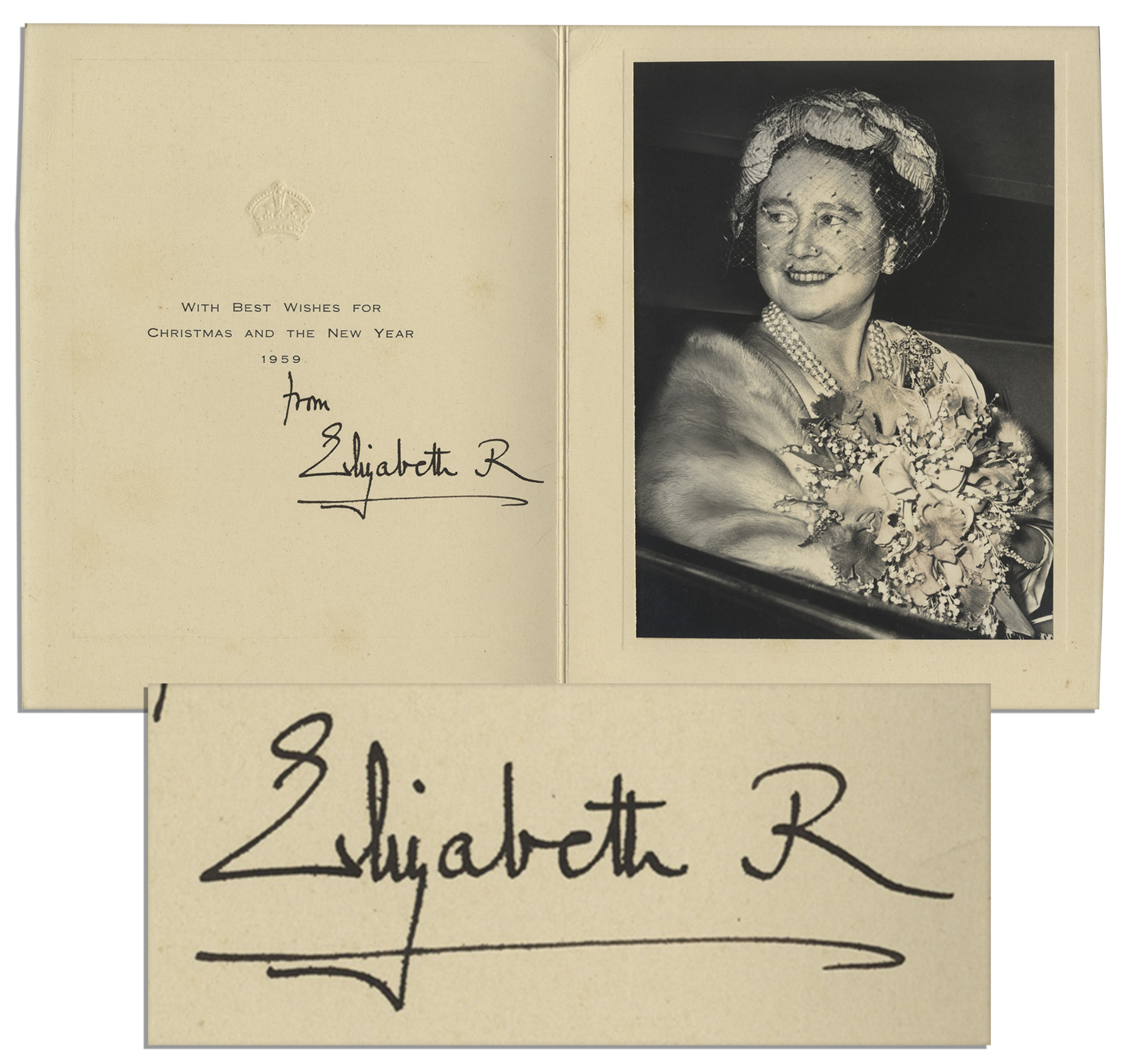 Lot Detail - Royal Christmas Card Signed by The Queen Mother in 1959