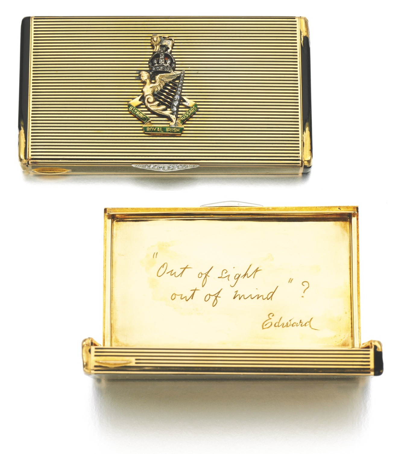 King Edward Memorabilia King Edward VIII's Lacloche Freres Case -- Decorated in Diamonds With the 8th King's Royal Irish Hussars Emblem -- Gifted Circa 1922