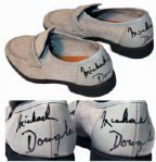Michael Douglas Twice-Signed Suede Loafers Worn as Liberace in Behind The Candelabra -- The Role for Which Douglas Won an Emmy