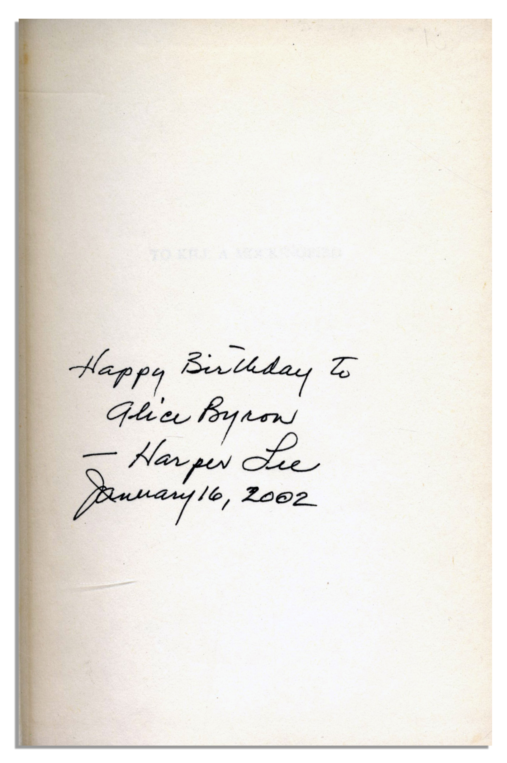 Lot Detail Harper Lee Signed First Edition Of Her Pulitzer Prize