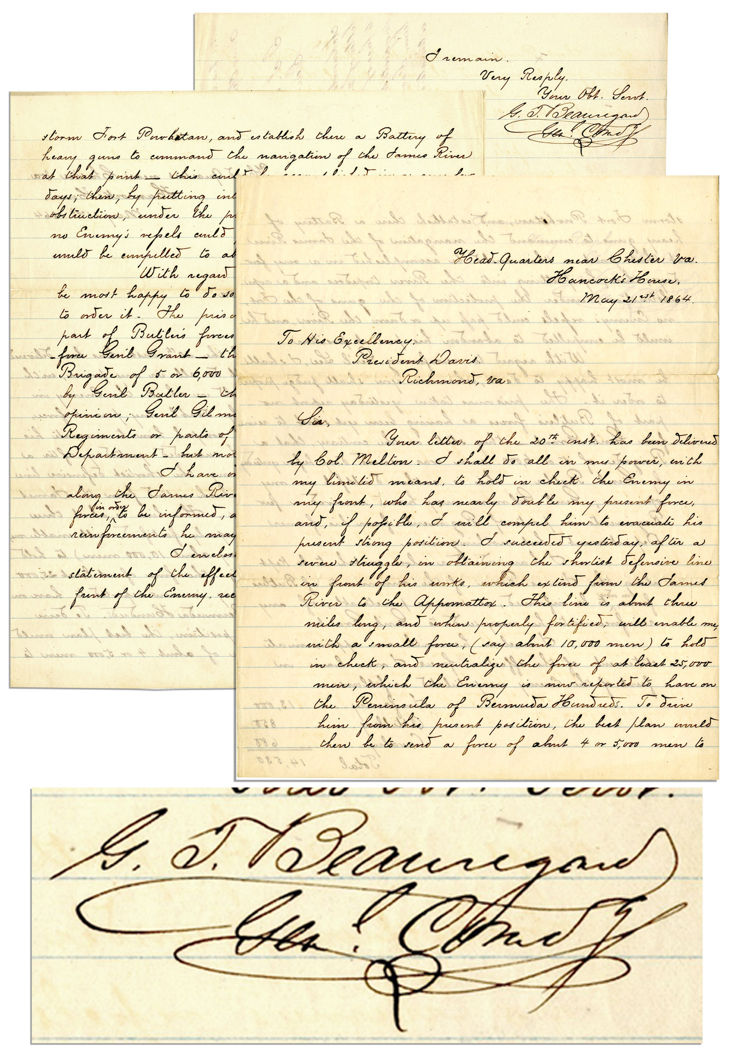P.G.T. Beauregard Autograph General Beauregard 1864 Letter Signed to Jefferson Davis -- ''...send a force of...4 or 5,000 to storm Fort Powhatan and...command...the James River...'' -- One Day After Bermuda Hundred