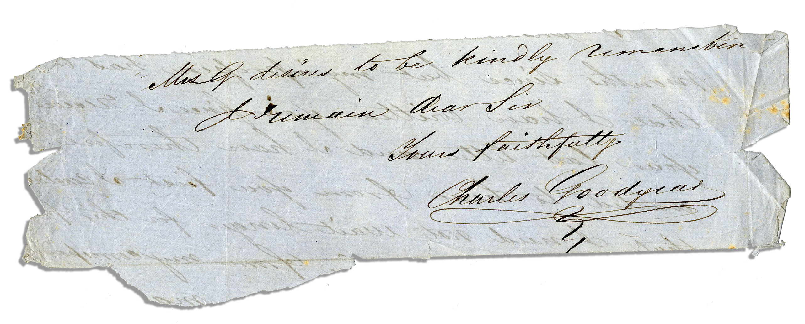 Charles Goodyear Signed Letter