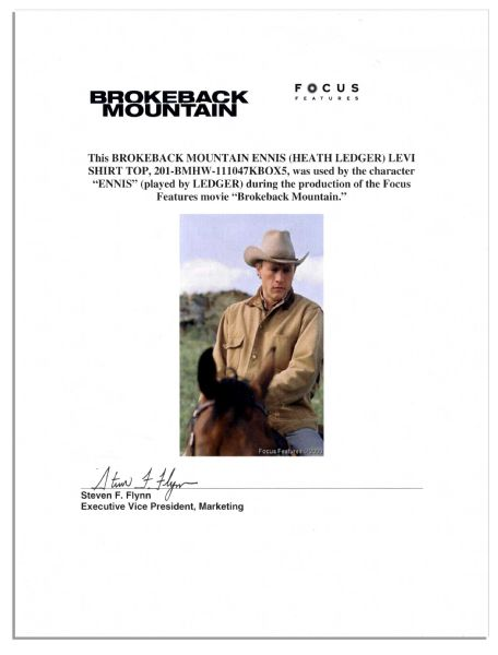 Heath Ledger Plaid Shirt & Undershirt From ''Brokeback Mountain'' -- With a COA From Focus Features