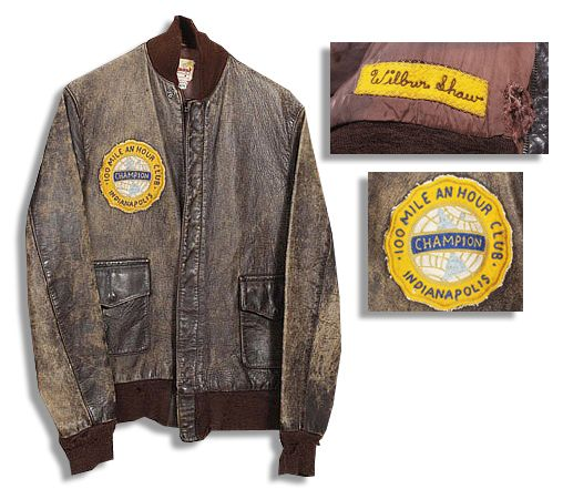 Wilbur Shaw's 1935 Indianapolis 500 Jacket -- Given to Him as an Inaugural Member of The ''Champion 100 Mile an Hour Club'' -- From the Wilbur Shaw Estate