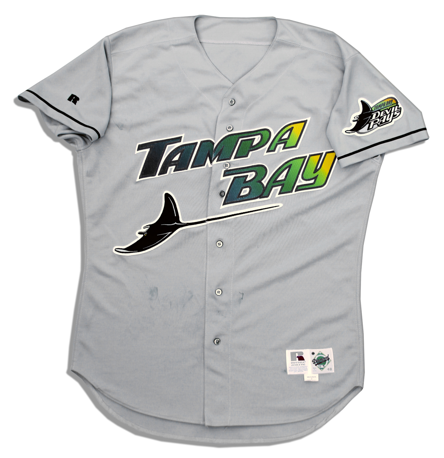 d6f2ff9d Wade Boggs Signed Game-Used Devil Rays Away Jersey -- From Mens Majestic Tampa  Bay Rays 12 Wade Boggs ...
